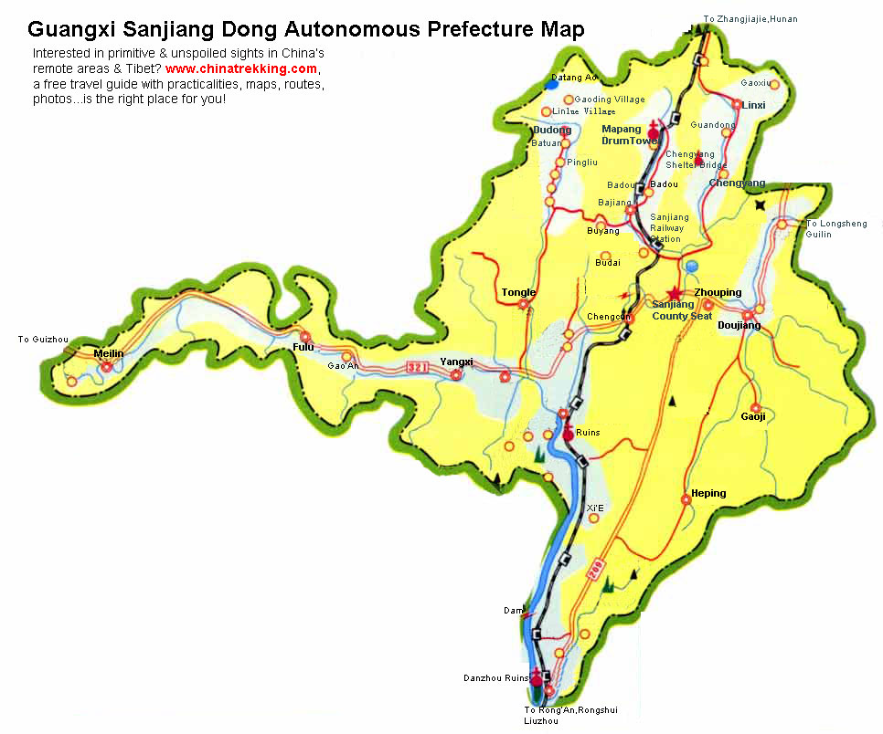 Sanjiang Tour Map