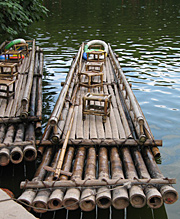 Bamboo Raft in Shunan Zhuhai,Yibin,Sichuan,China
